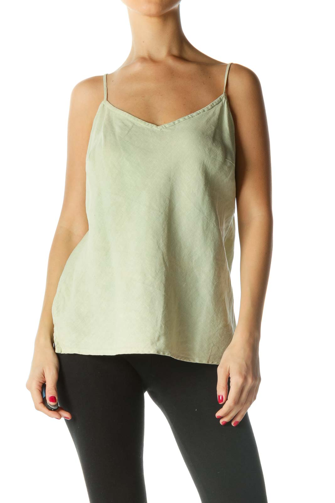 Green 38Spaghetti Strap Knit Top
