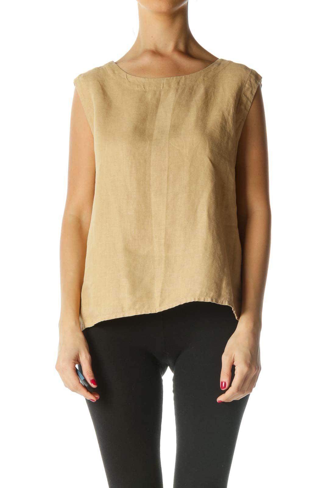 Beige 100% Linen Boat Neck Top