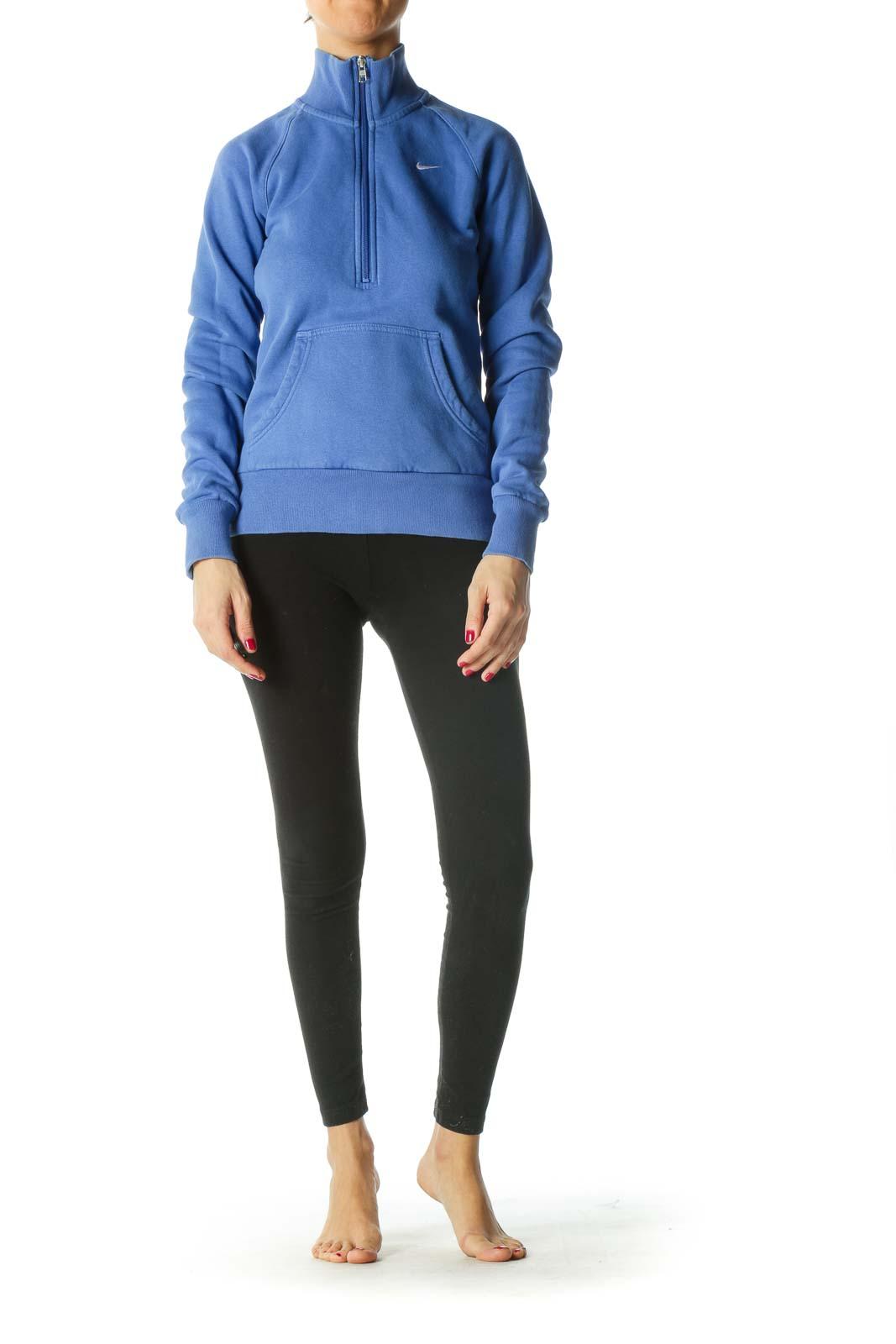 Blue Pocketed Zippered High-Neck Active Jacket