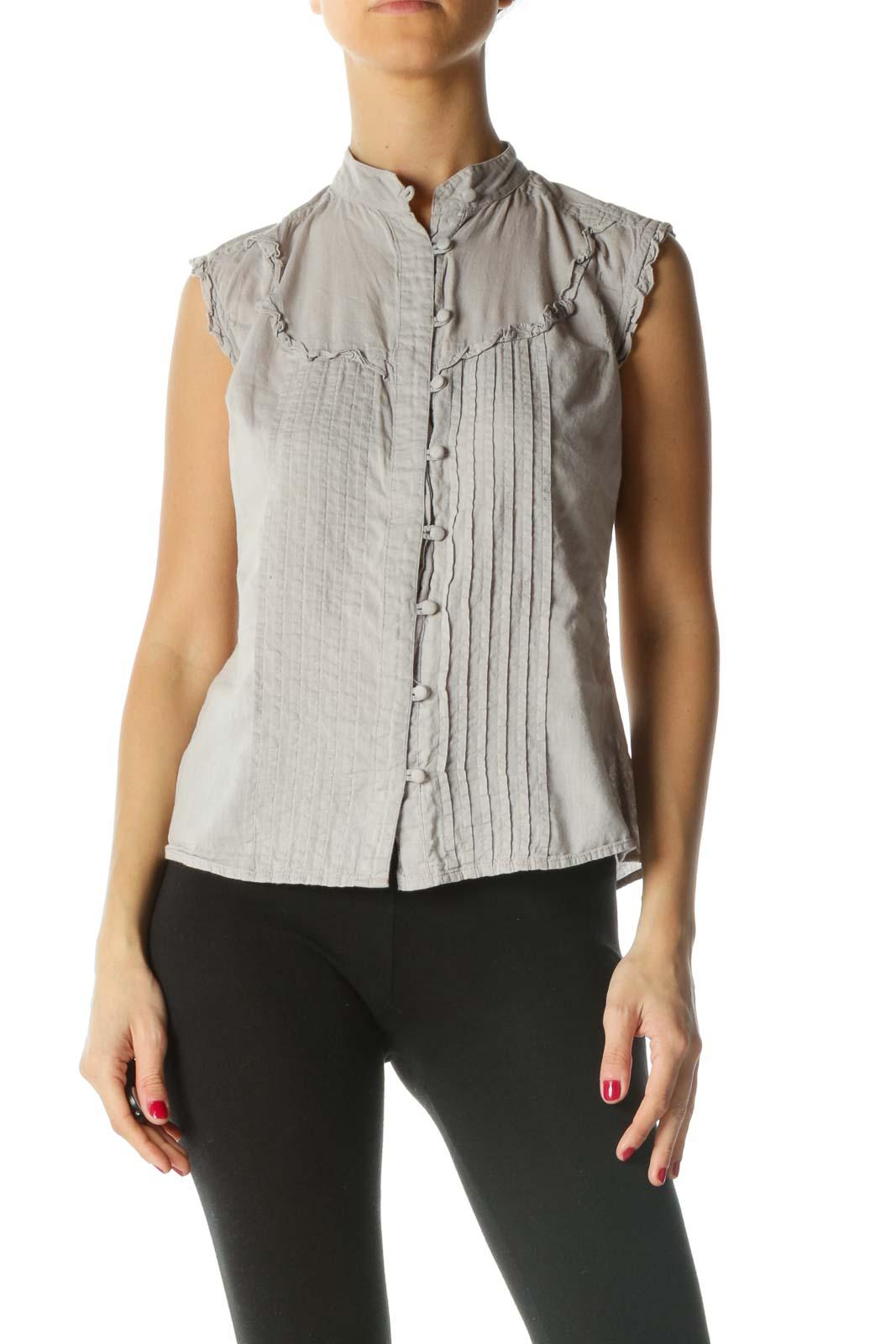 Gray Pleated Ruffle Detail Knit Sleeveless Top