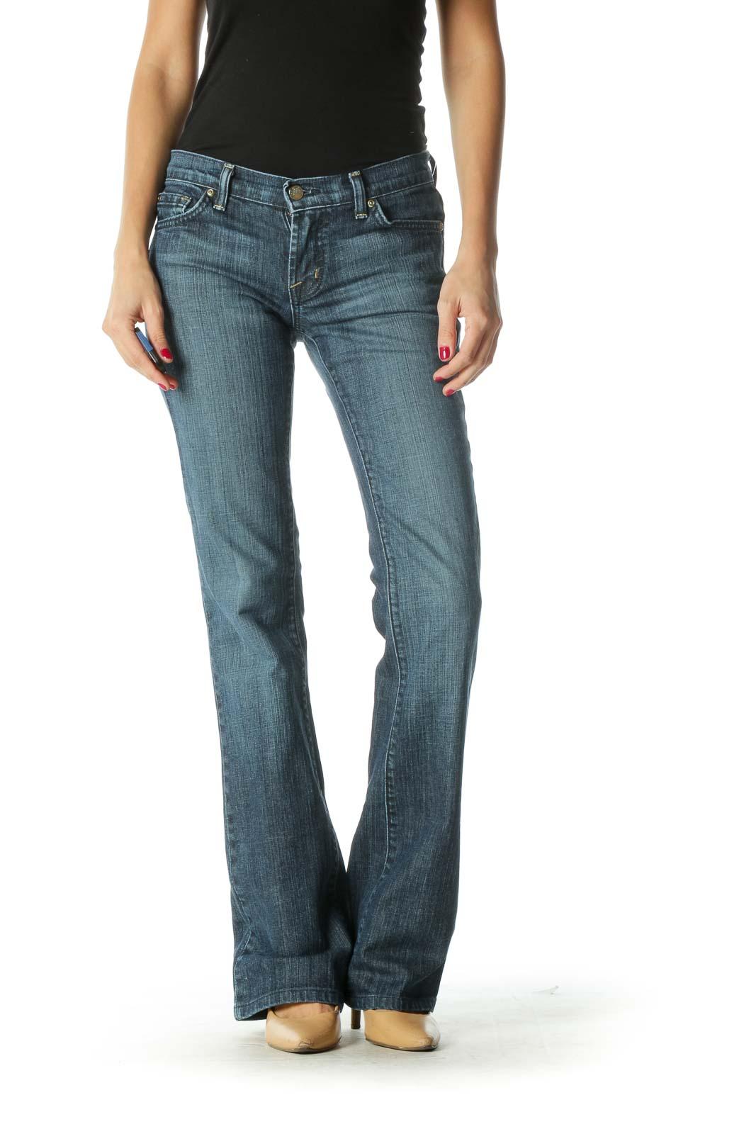 Blue Dark Wash Flared Jeans