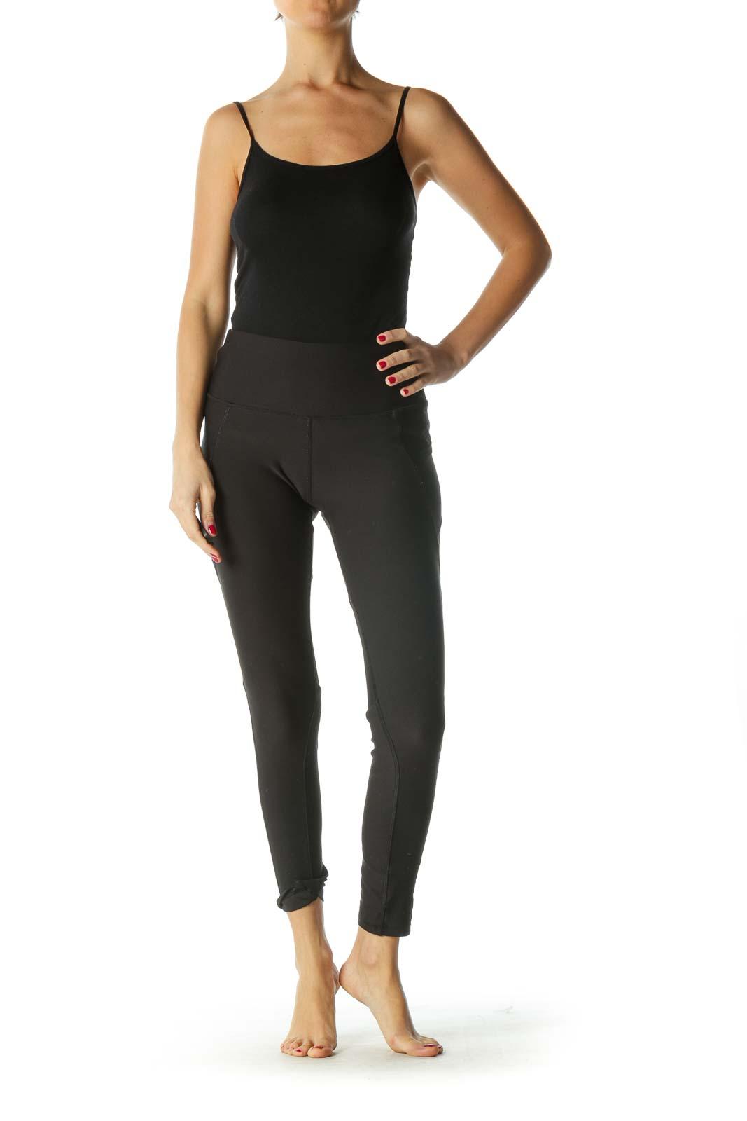 Black Sheer Leg Detail Active Leggings