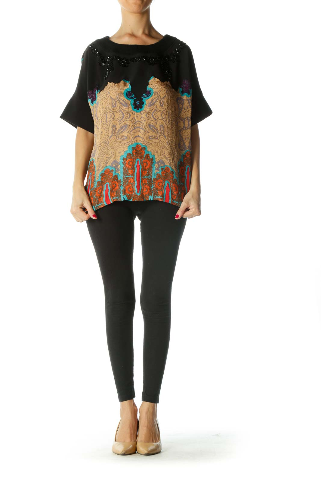 Black Multicolored Print Sequined Mixed-Media Top