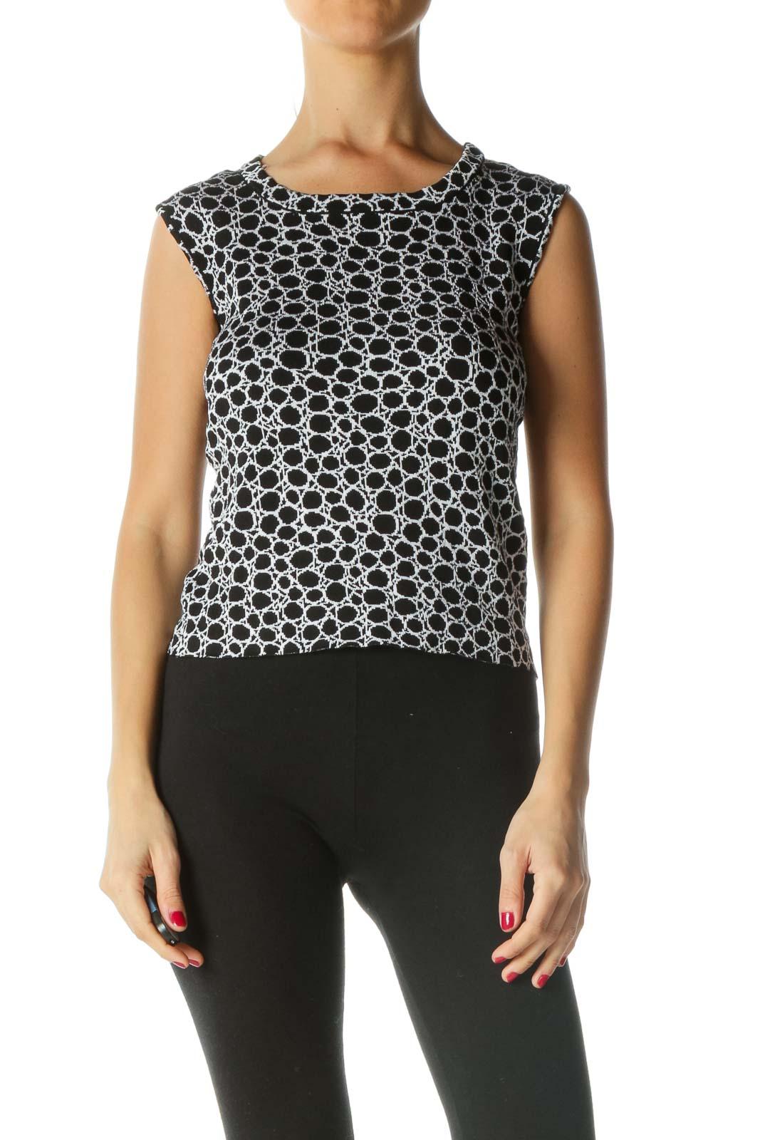 Black White Knitted Pattern Sleeveless Top