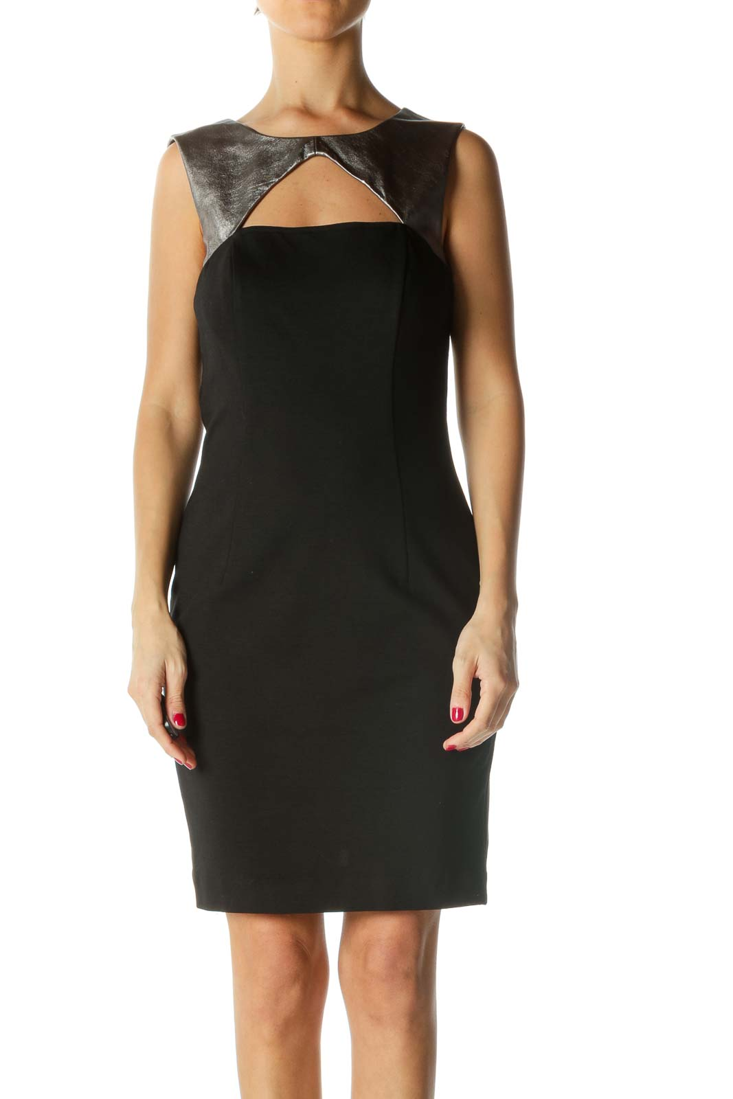 Black and Silver Cut-Out Bodycon Dress