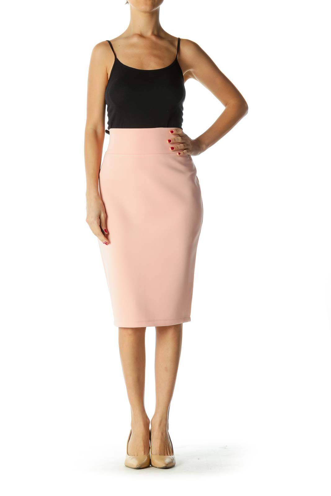 Pink Stretch Pencil Skirt