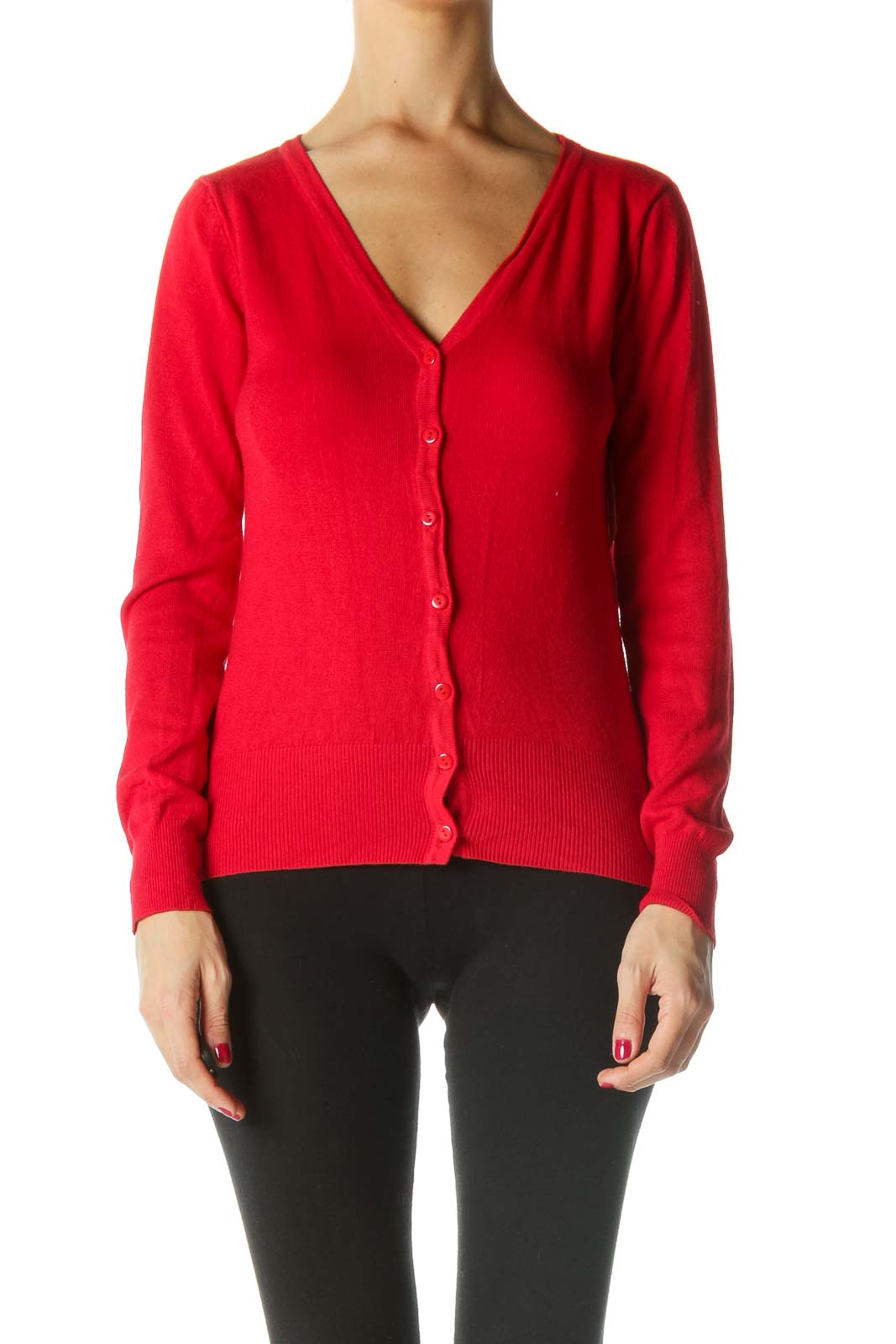 Red V-Neck Buttoned Sweater