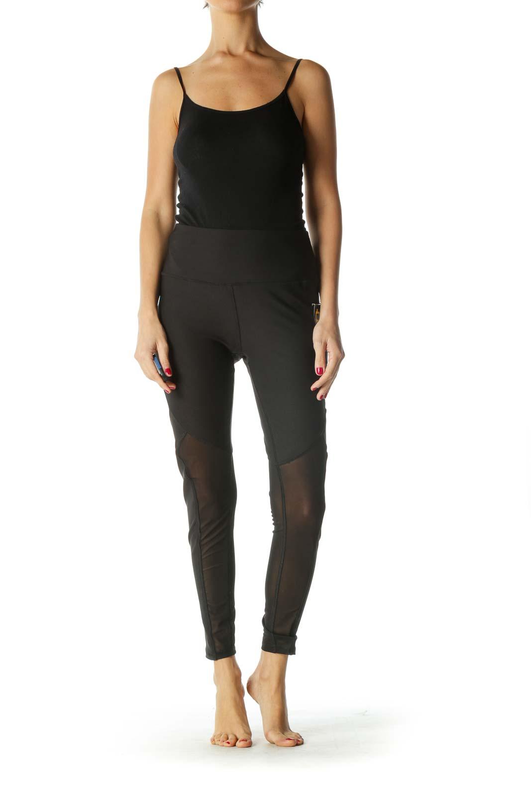 Black Sheer Detail Active Leggings
