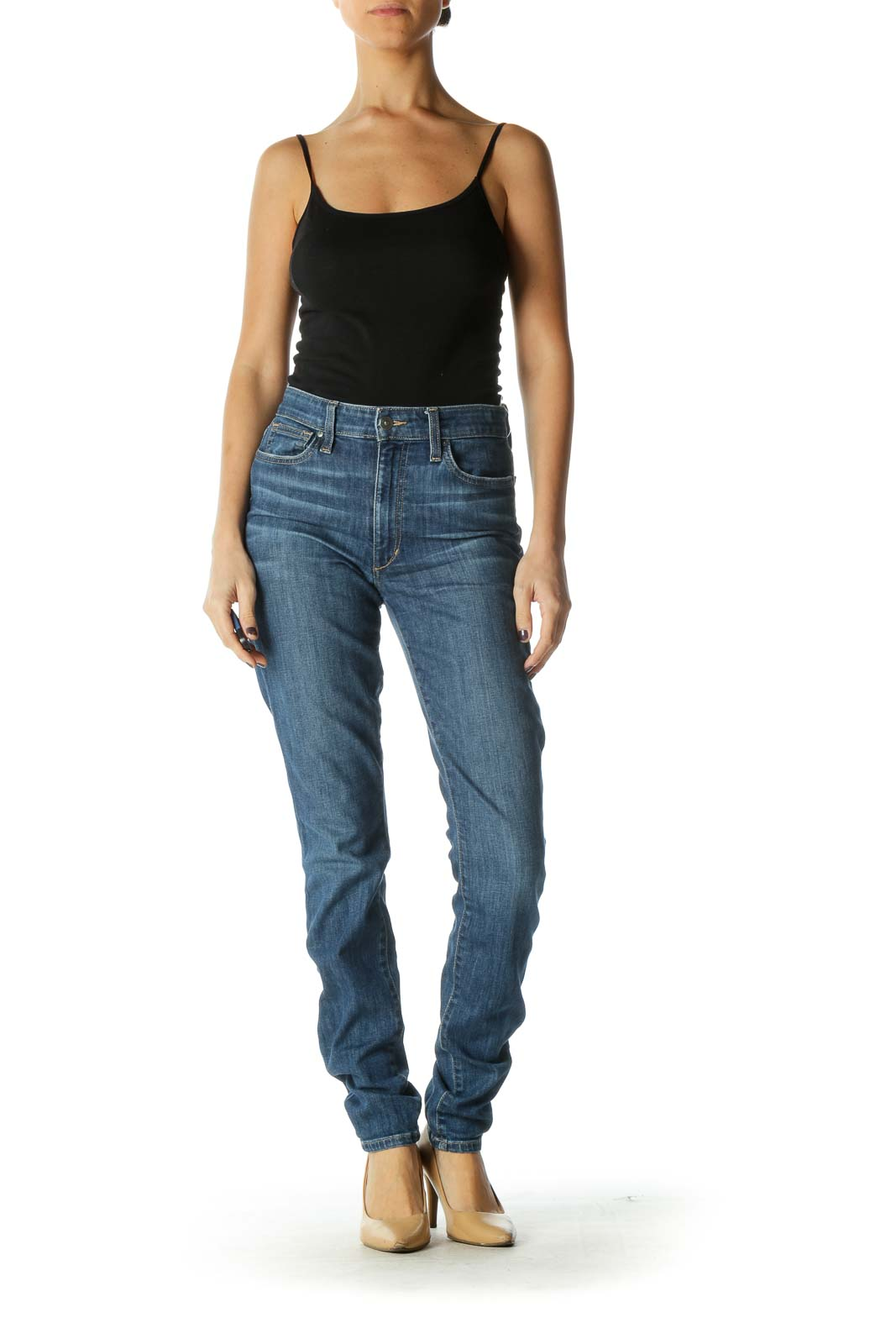 Blue Casual Straight Leg Jeans