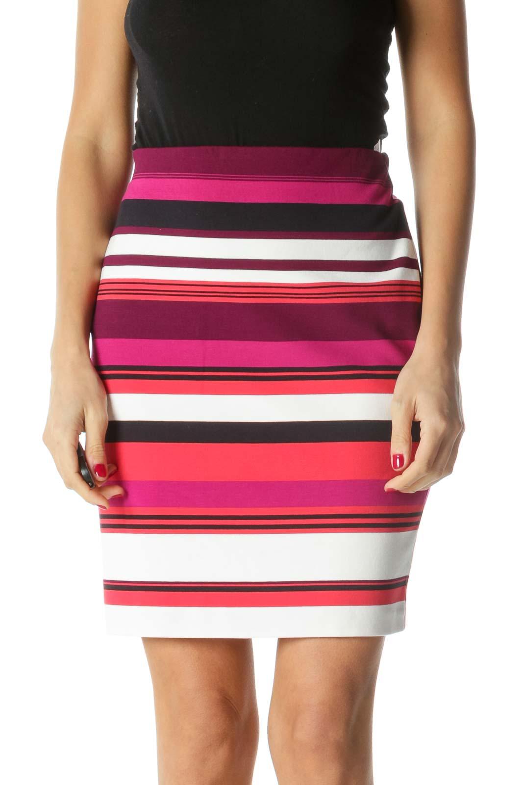 Purple White Pink Striped Elastic Waist Skirt