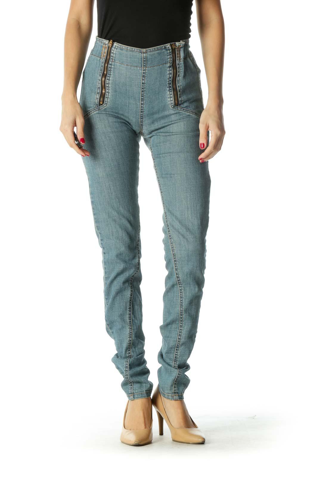 Blue Zippered Elastic Scrunch-Waist Denim Pants