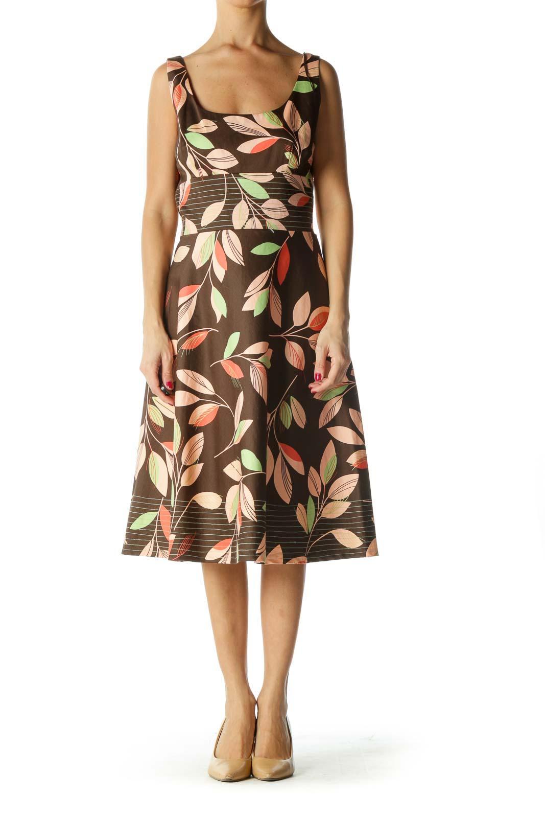 Brown Green Orange Leaf Print A-Line Dress