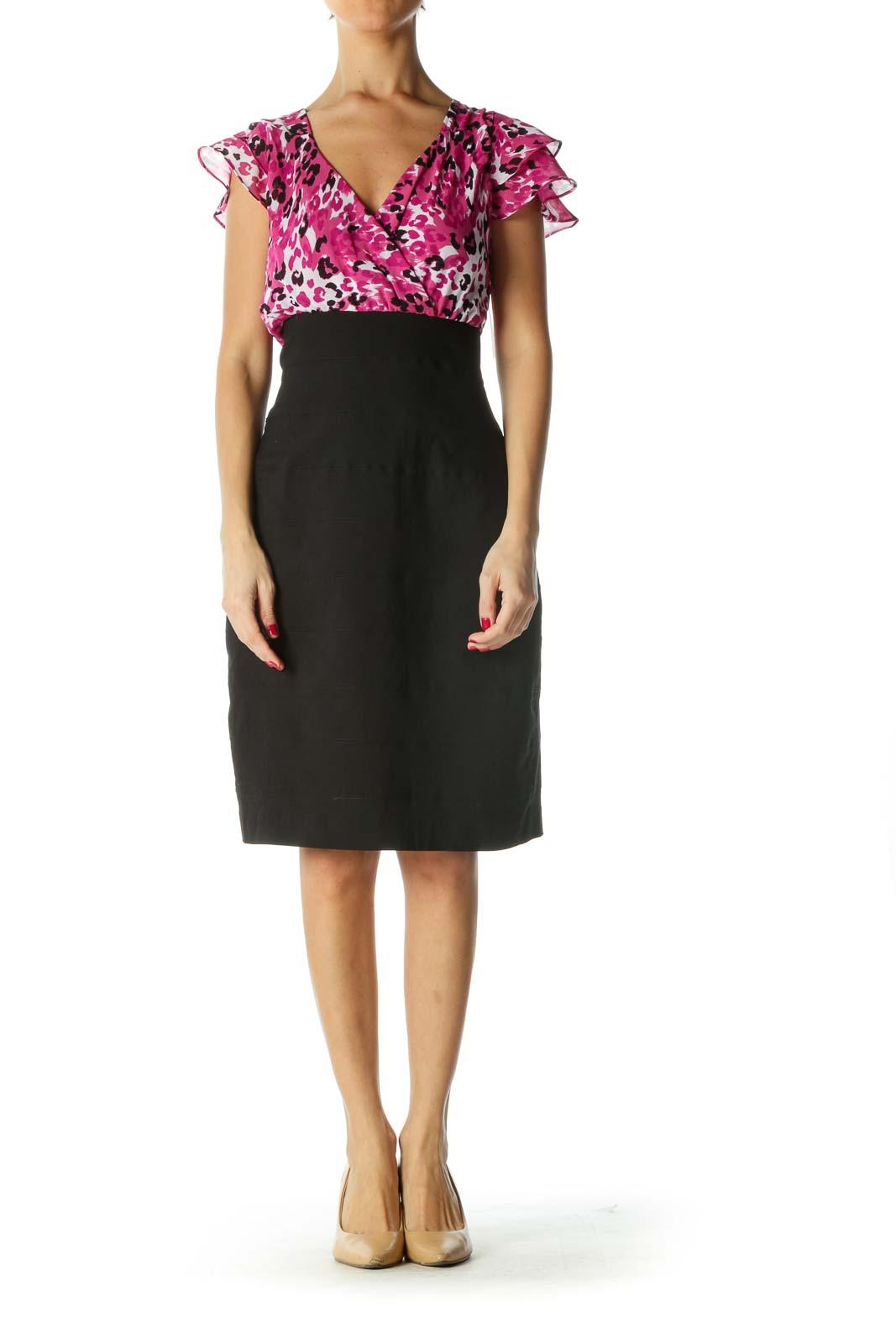 Black Pink White V-Neck Cocktail Dress