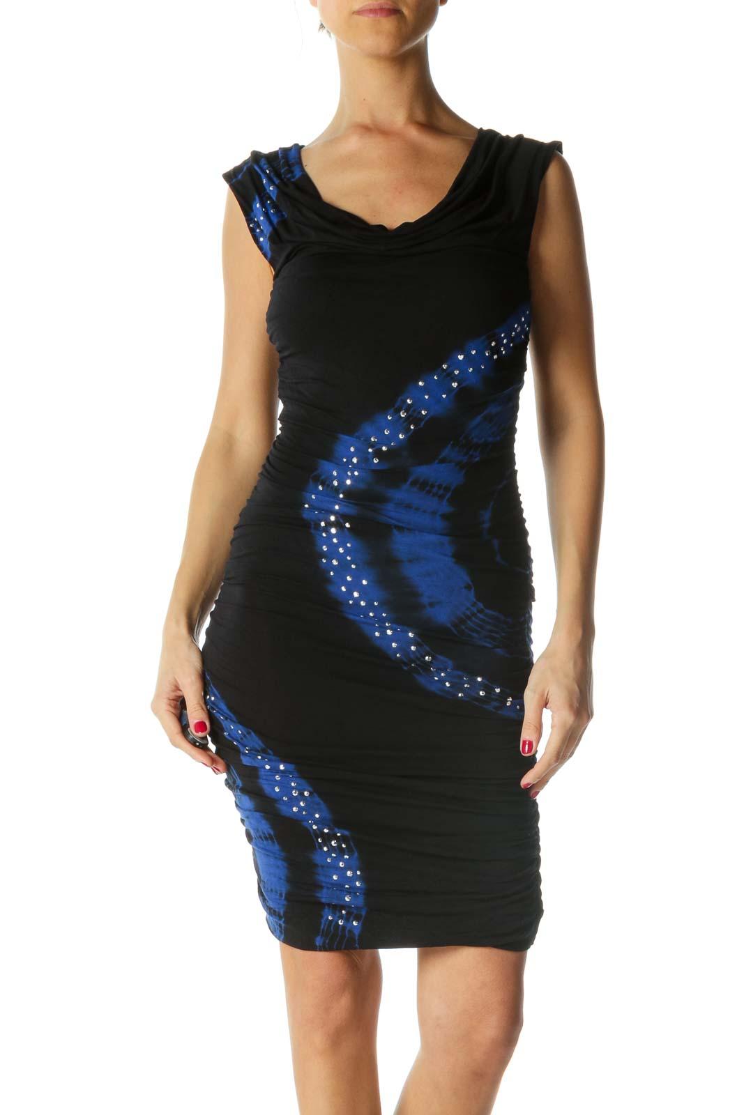 Black and Blue Print Embellished Draped Dress