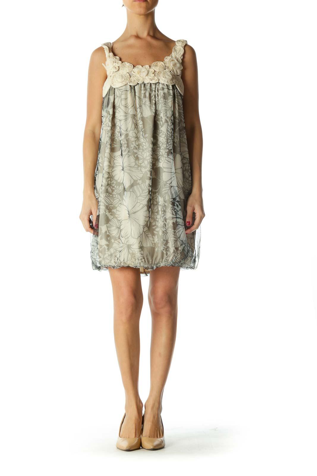 Black Cream Floral Print Sparkle Mixed-Media Dress