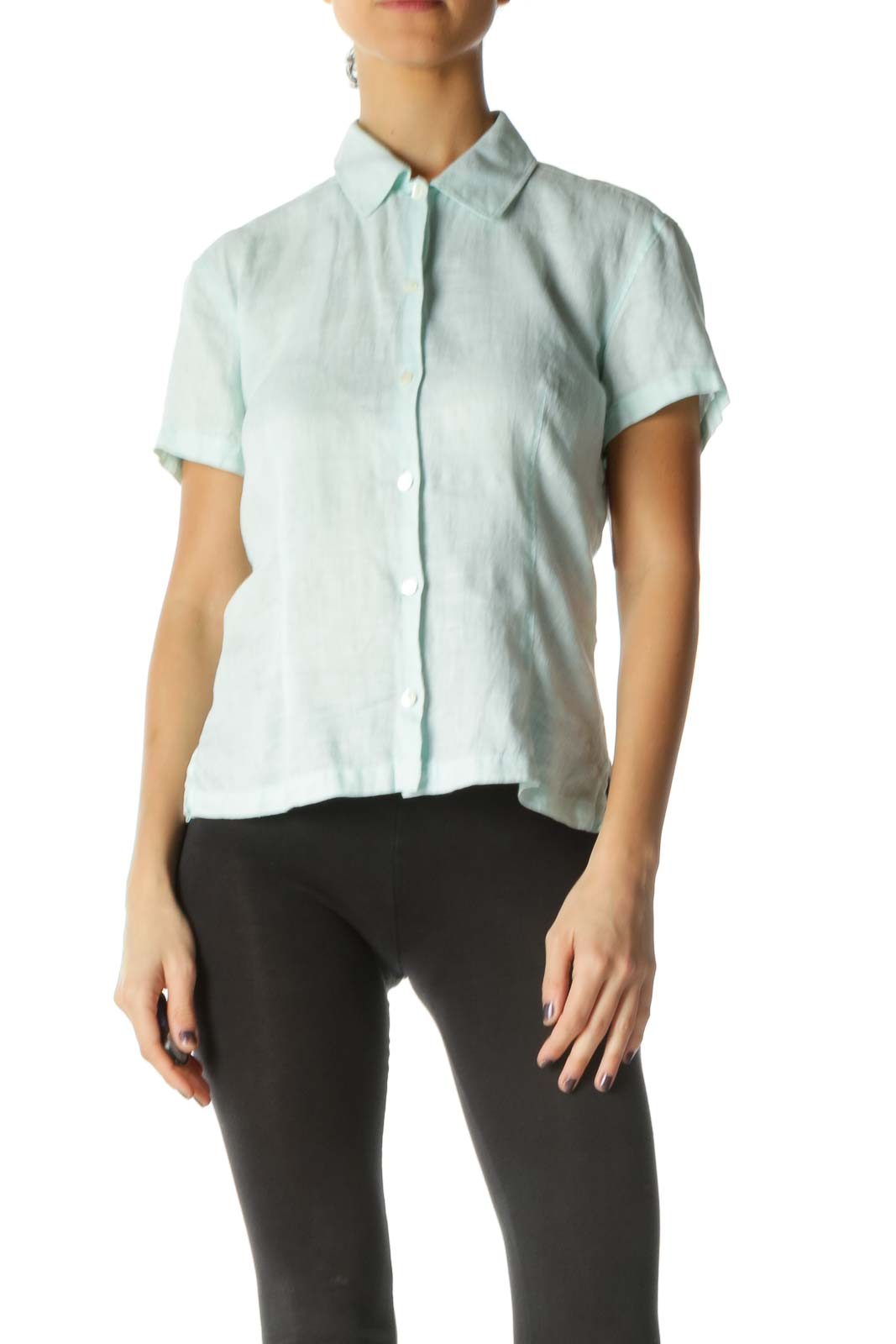 Green Solid Collared Shirt