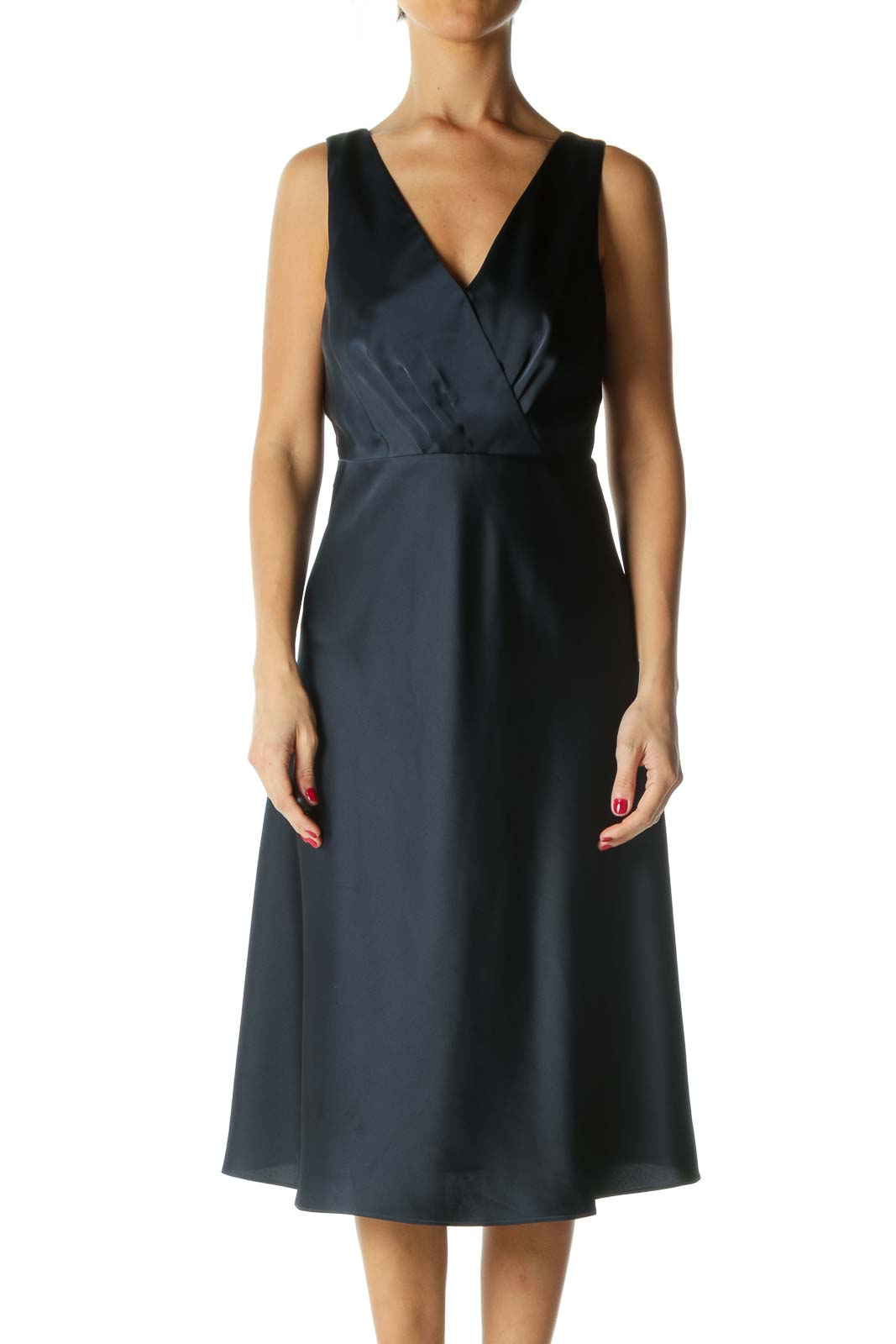 Navy V-neck Evening Dress