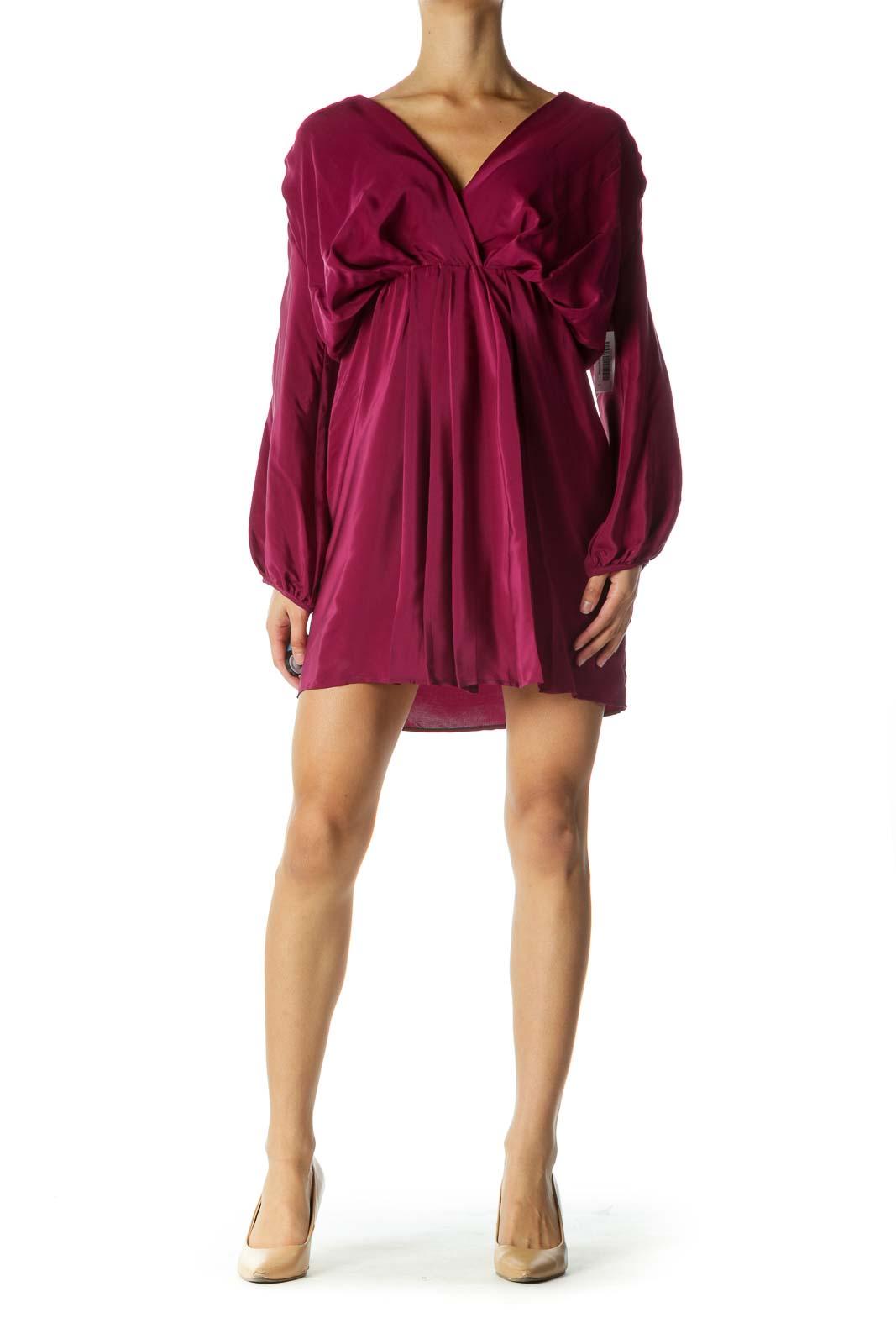 Purple Silk V-neck Dress
