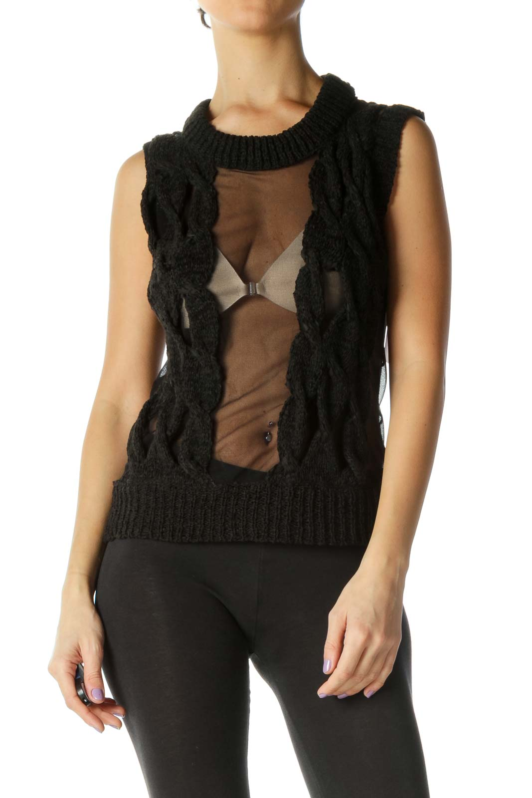 Black Mixed Media Sheer Knit Top