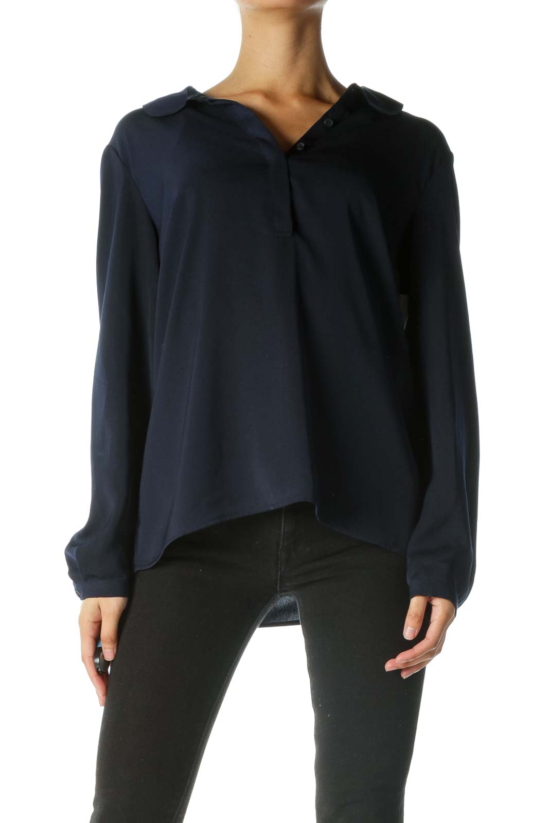 Blue Round Neck Buttoned Blouse