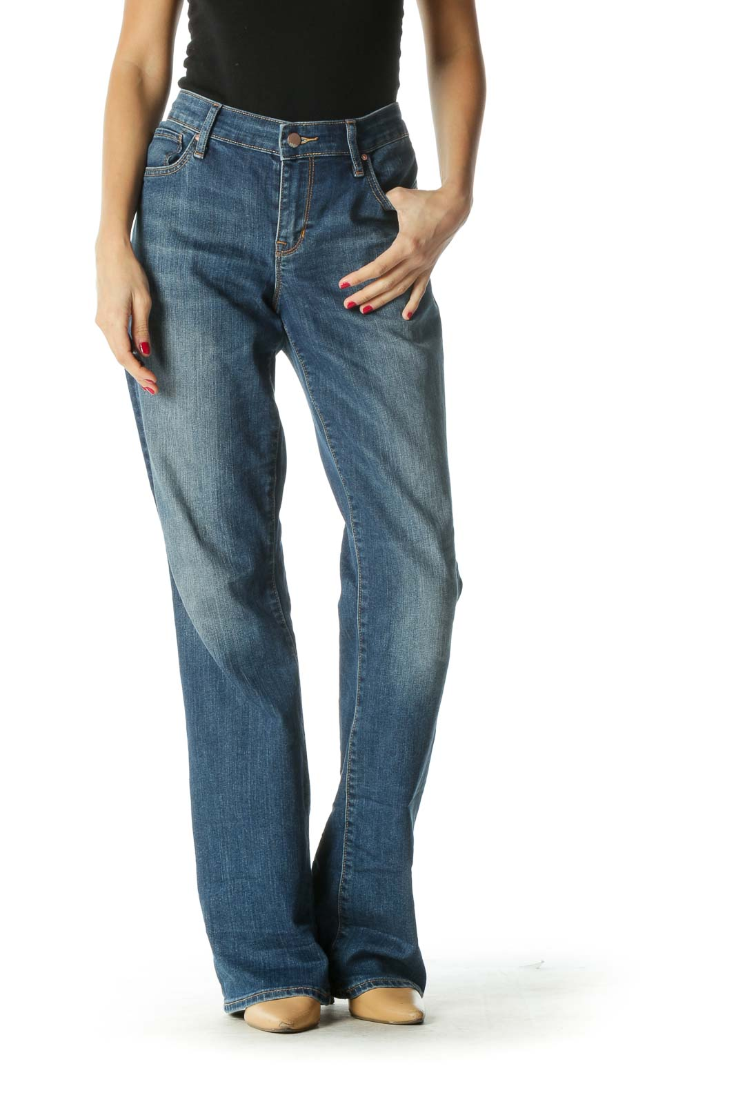 Blue Medium Wash Boot Cut Jeans