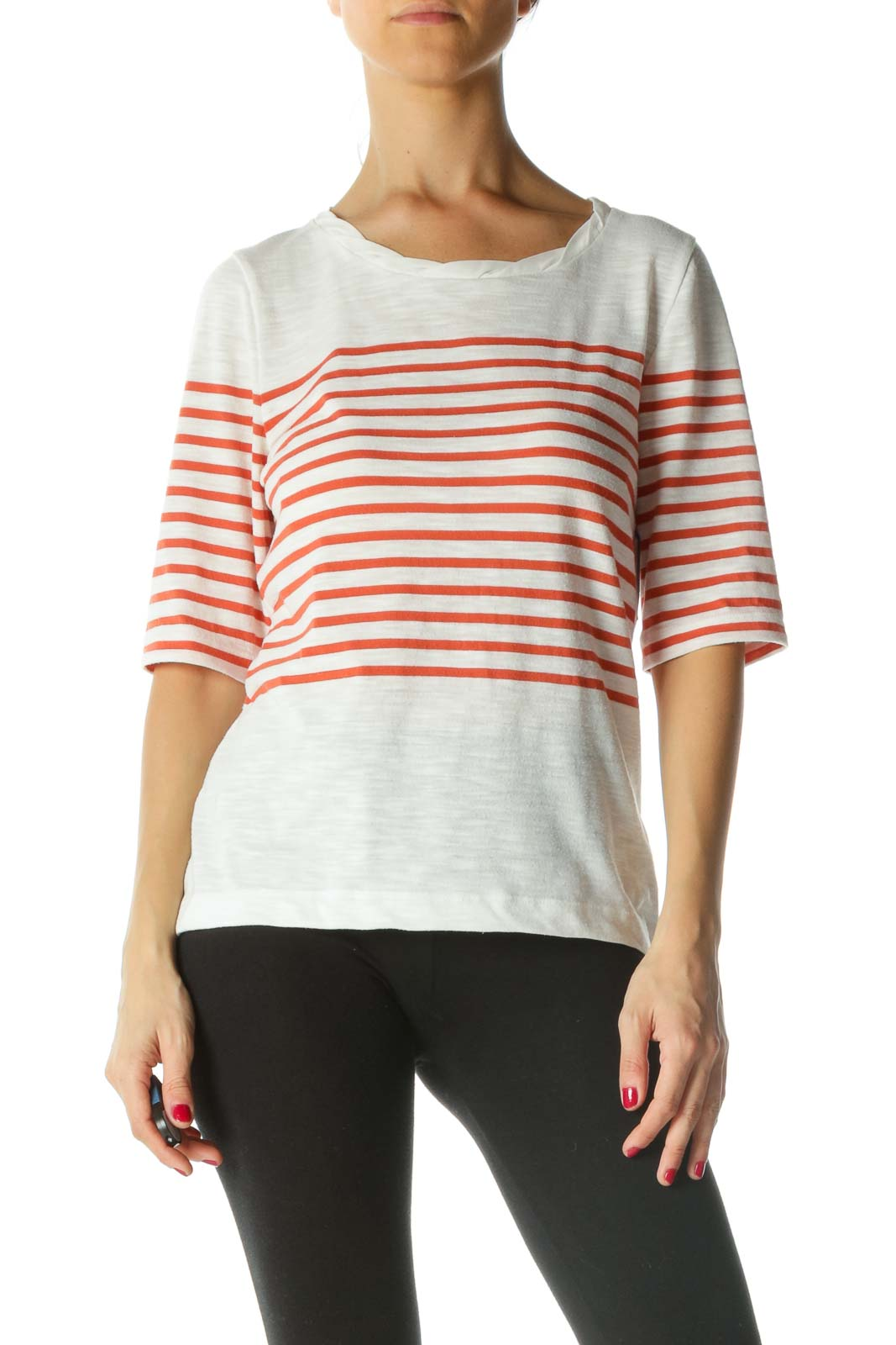 Cream Orange Neckline Detail Striped Top