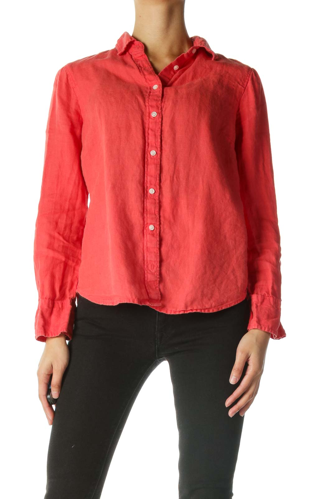 Coral Red 100% Linen Buttoned Shirt