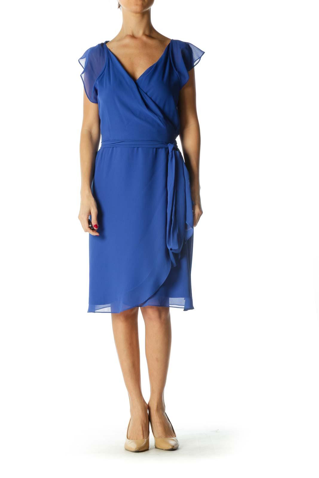 Blue Tie-Front Dress