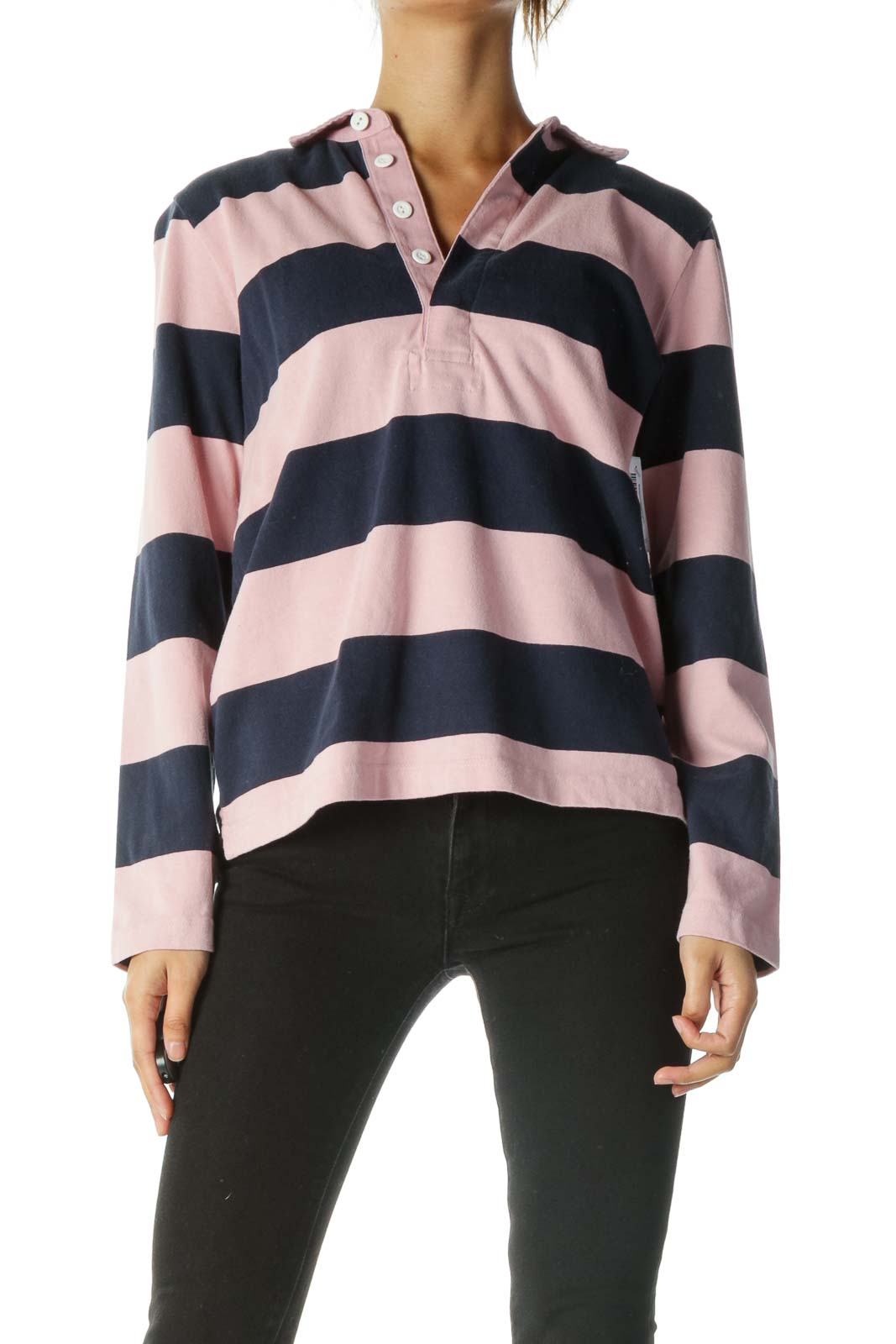 Pink Blue 100% Cotton Striped Long Sleeve Top