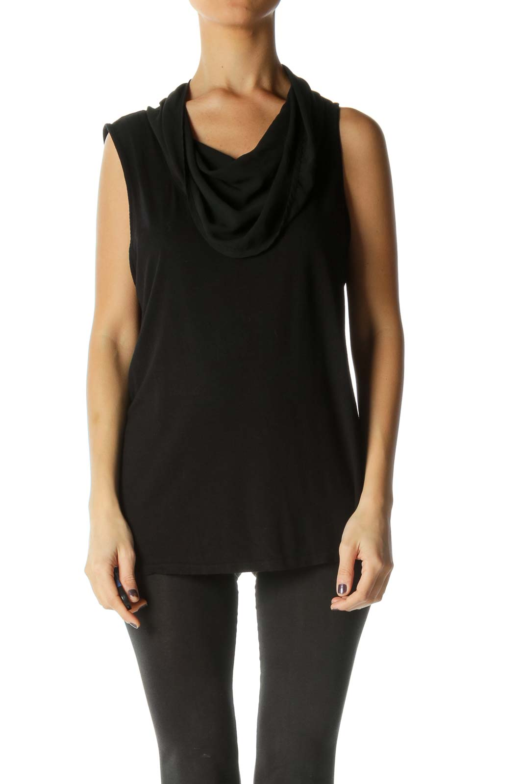 Black Cowl Neck Mixed-Media Stretch Top
