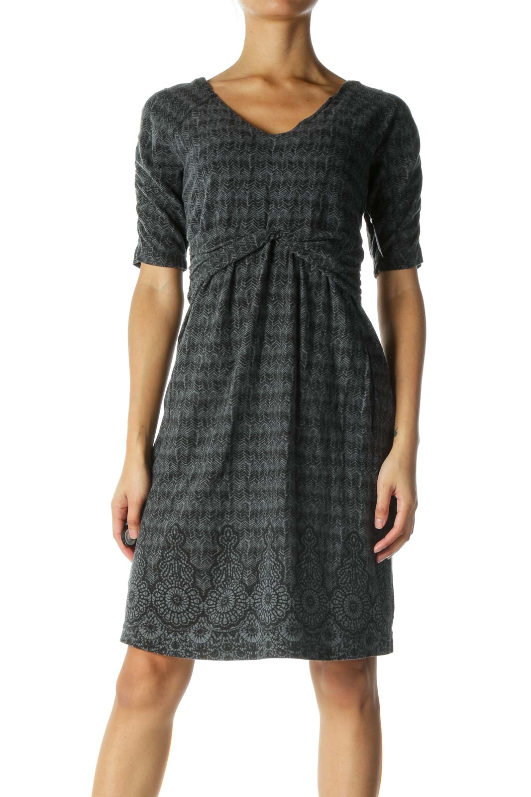 Black and Gray Print Dress