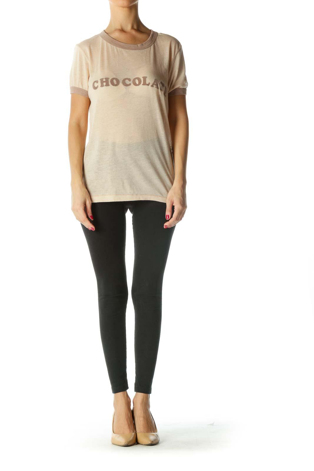 Beige Brown Felt Graphic T-Shirt