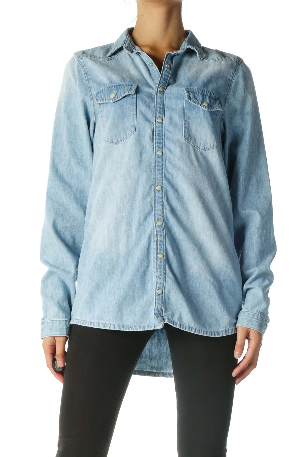 Blue 100% Cotton Denim Shirt