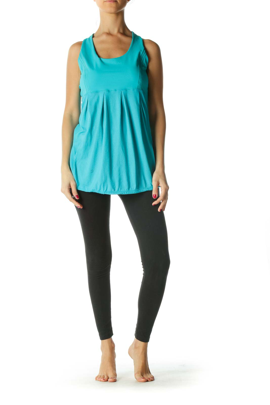 Blue Round Neck Stretch Active Top