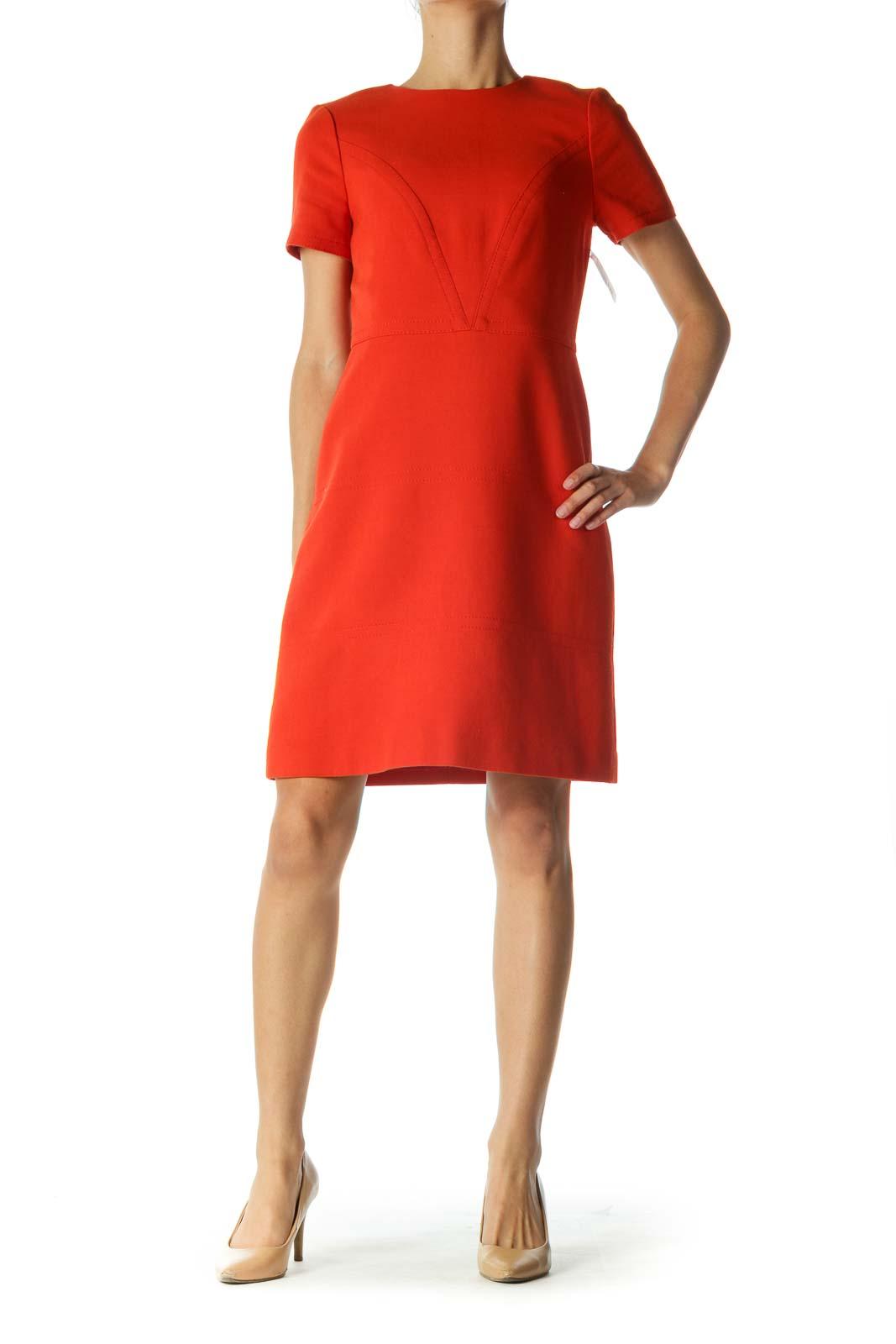 Orange Short Sleeve Work Dress