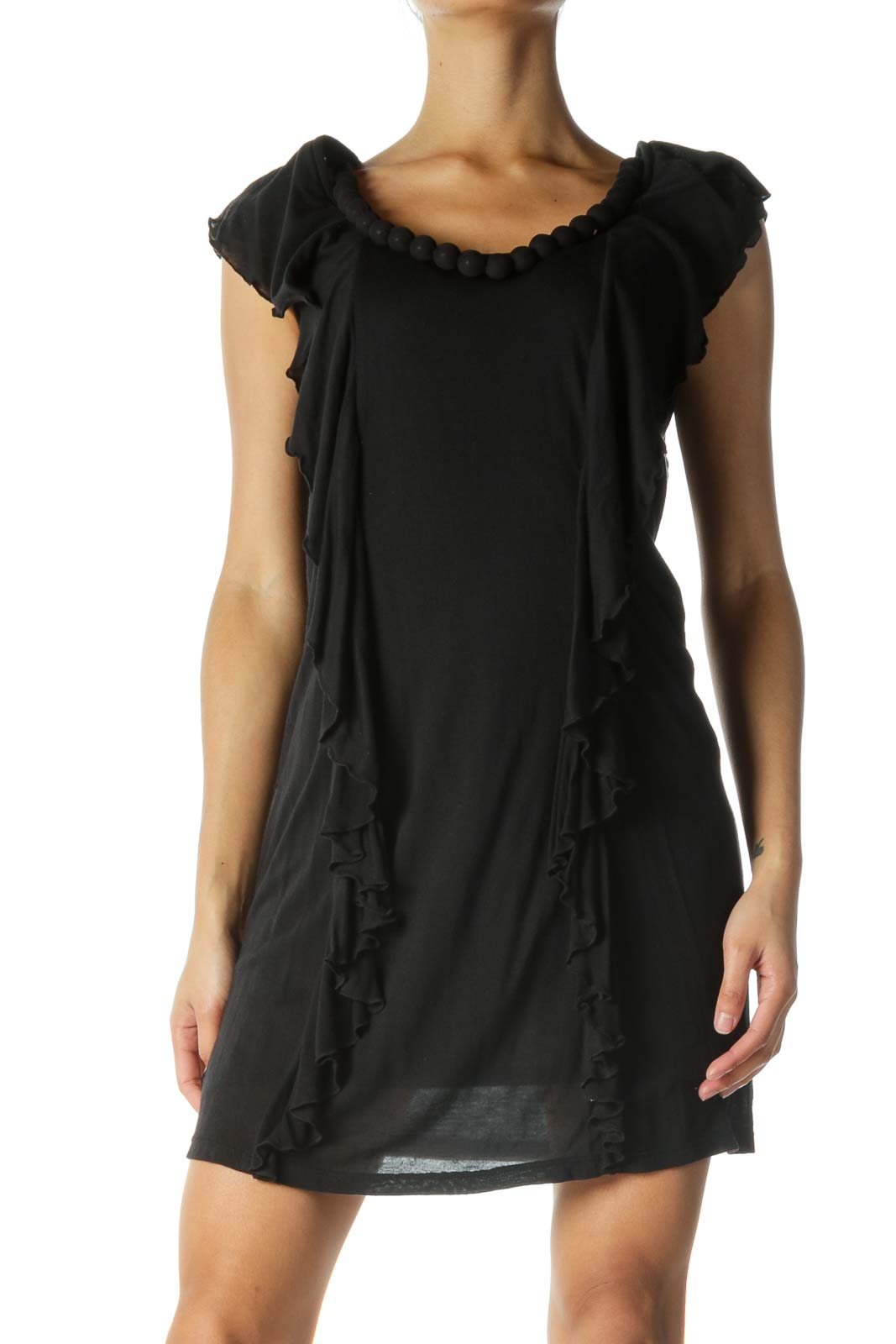 Black Flowy Dress with Bead Detail