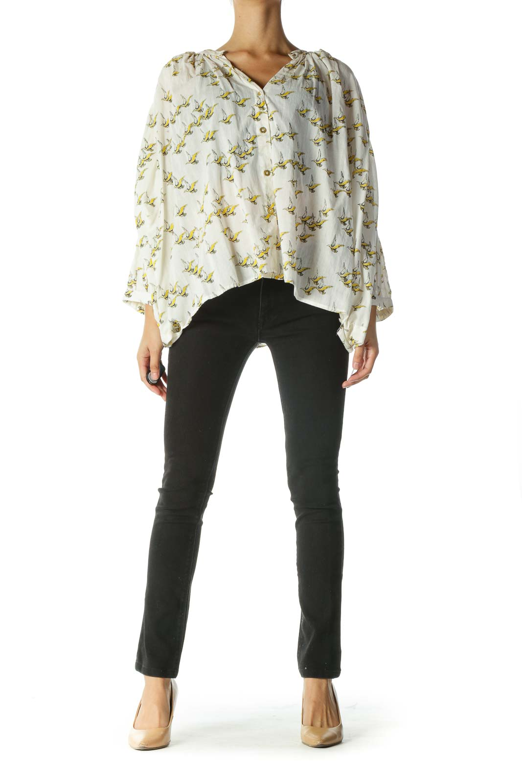 Cream and Yellow Bird Print Shirt with Bat-Sleeves