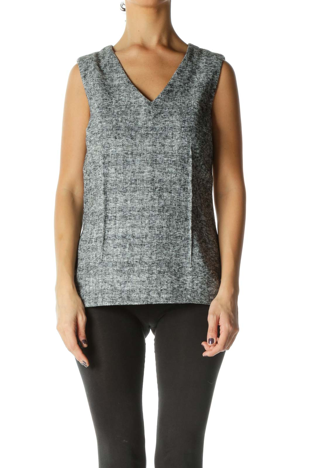 Gray Texture V Neck Casual Blouse
