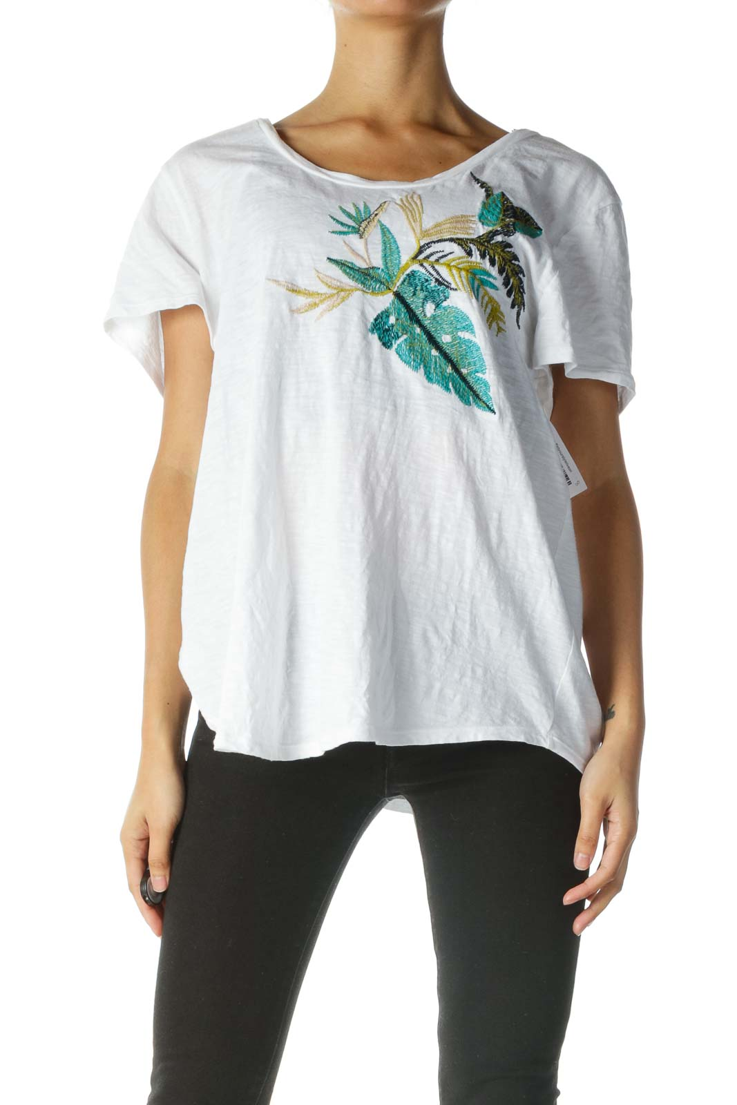 White Embroidered Short Sleeve Shirt