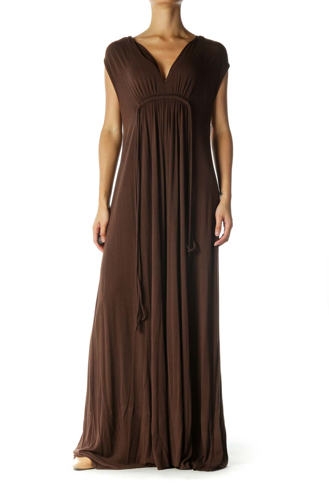 Brown Sleeveless Maxi Dress