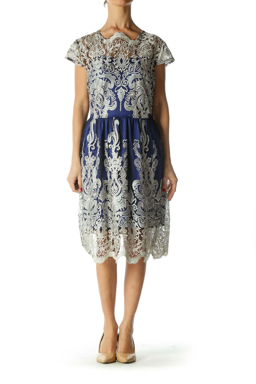 Blue and Silver Embroidered Dress