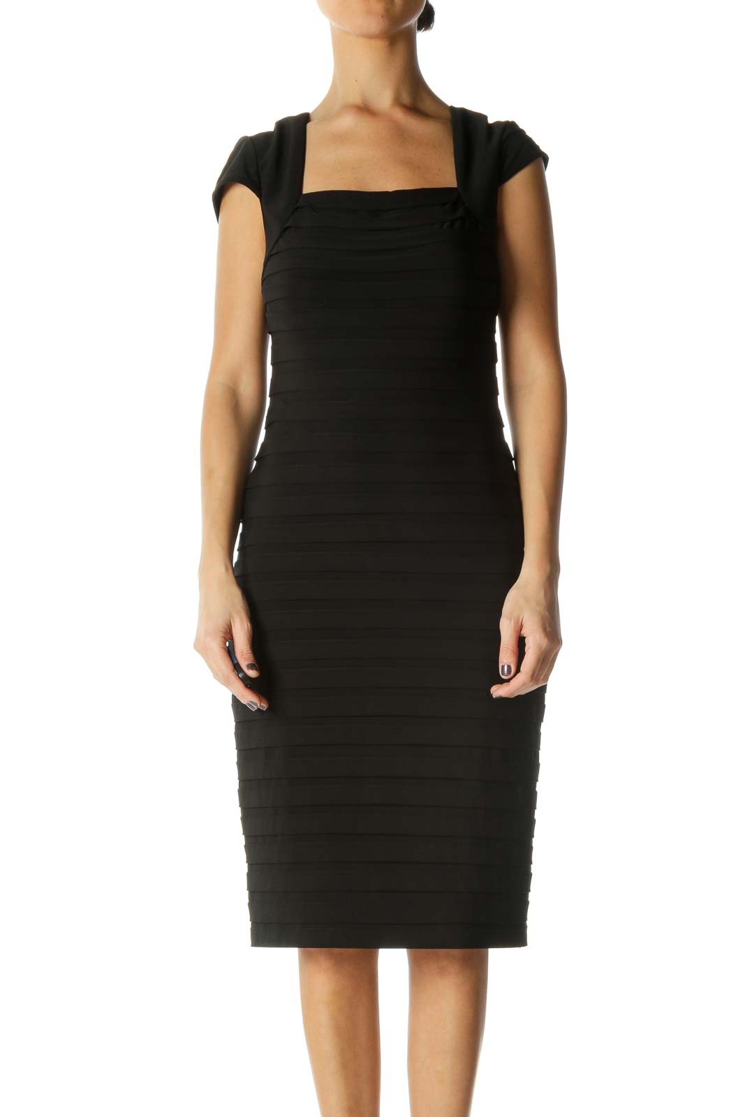 Black Solid Square Neck Sheath Dress