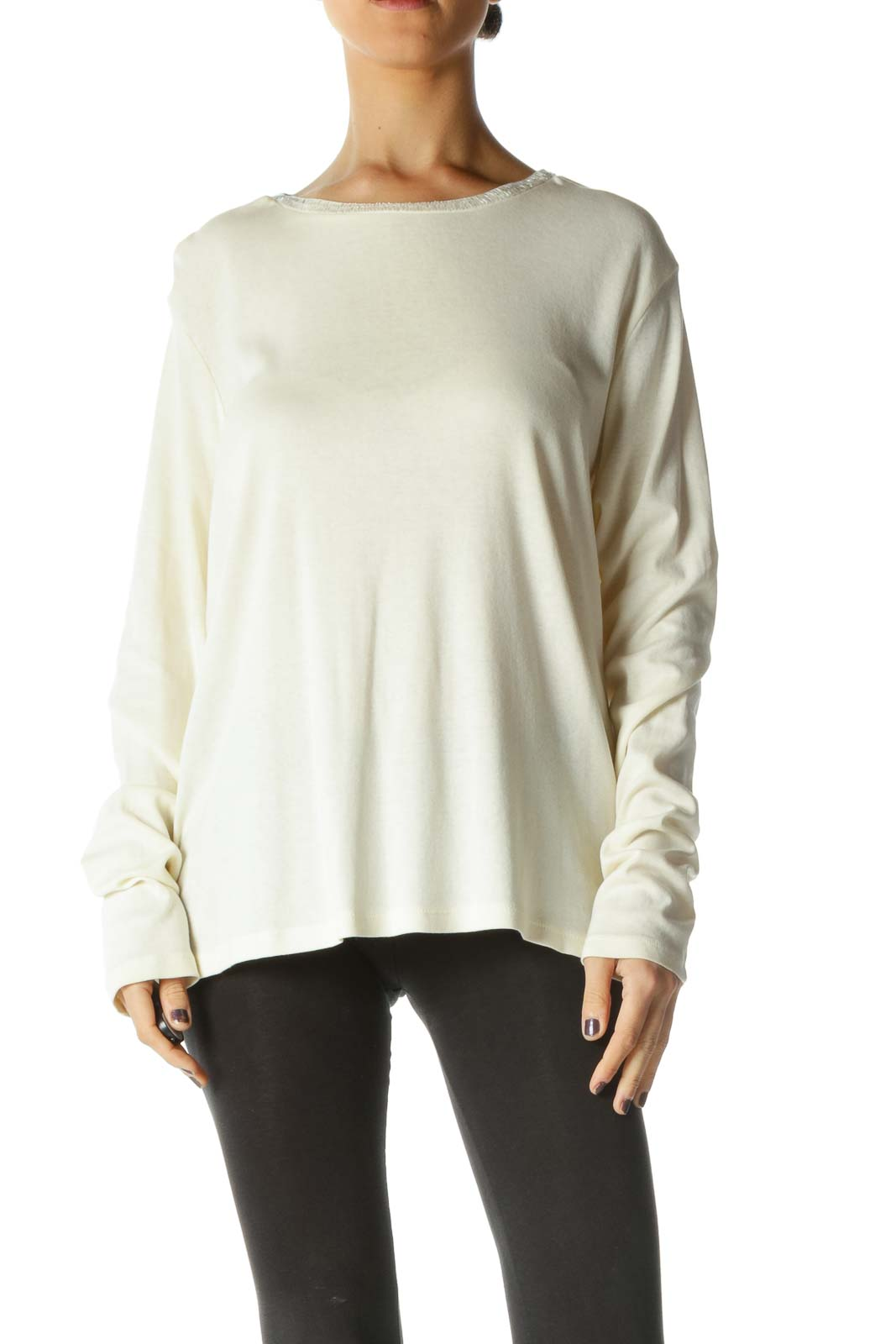 White Solid Crewneck Casual Blouse