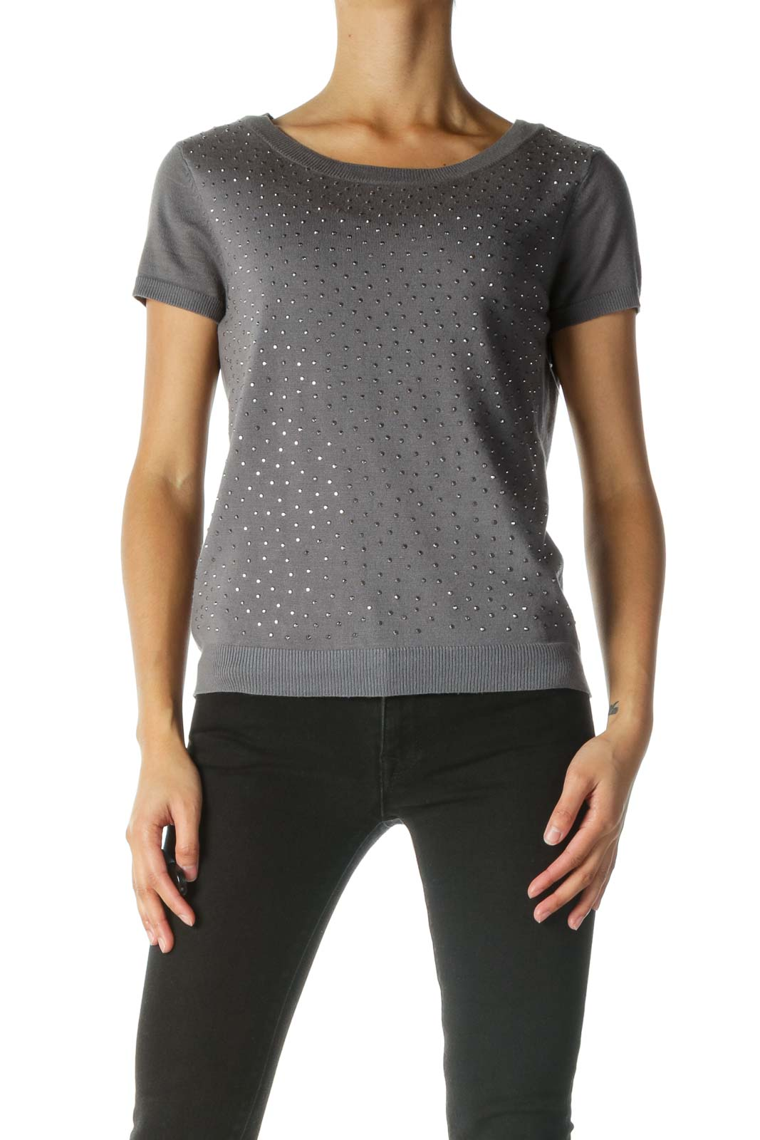 Gray Studded Short Sleeve Knit Top
