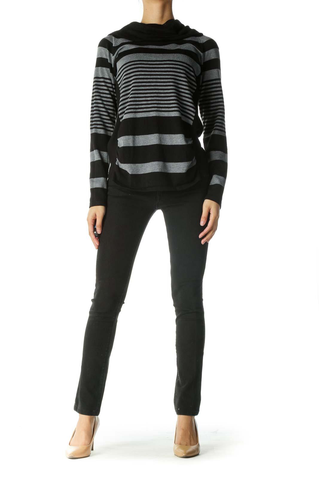 Black Gray Cowl Neck Striped Sweater