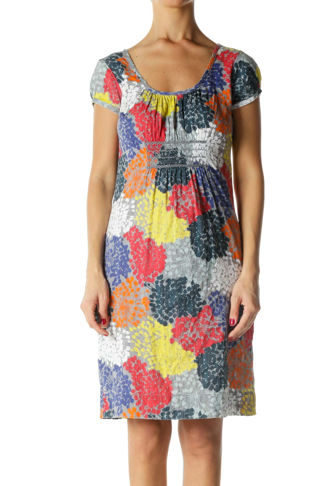 Gray and Multicolor Print Short Sleeve Dress