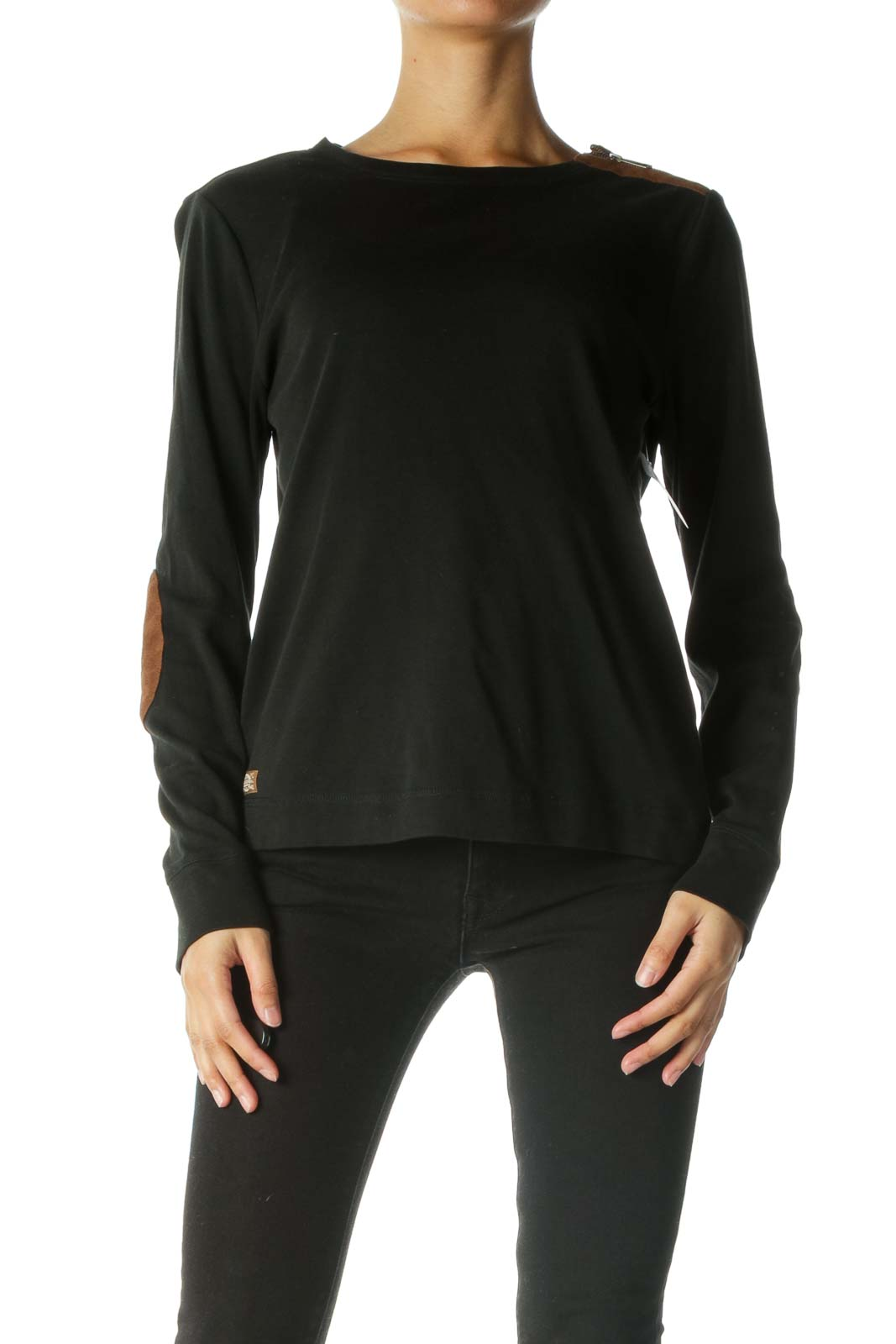Black Brown Suede Detail Zipper Long Sleeve Top