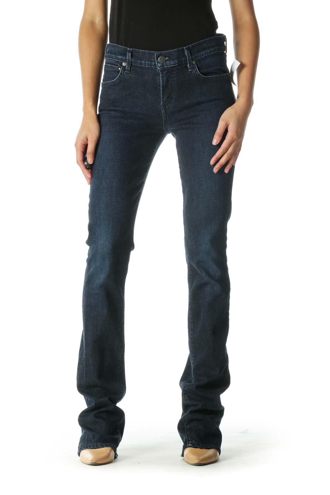 Blue Dark Wash Flared Jeans
