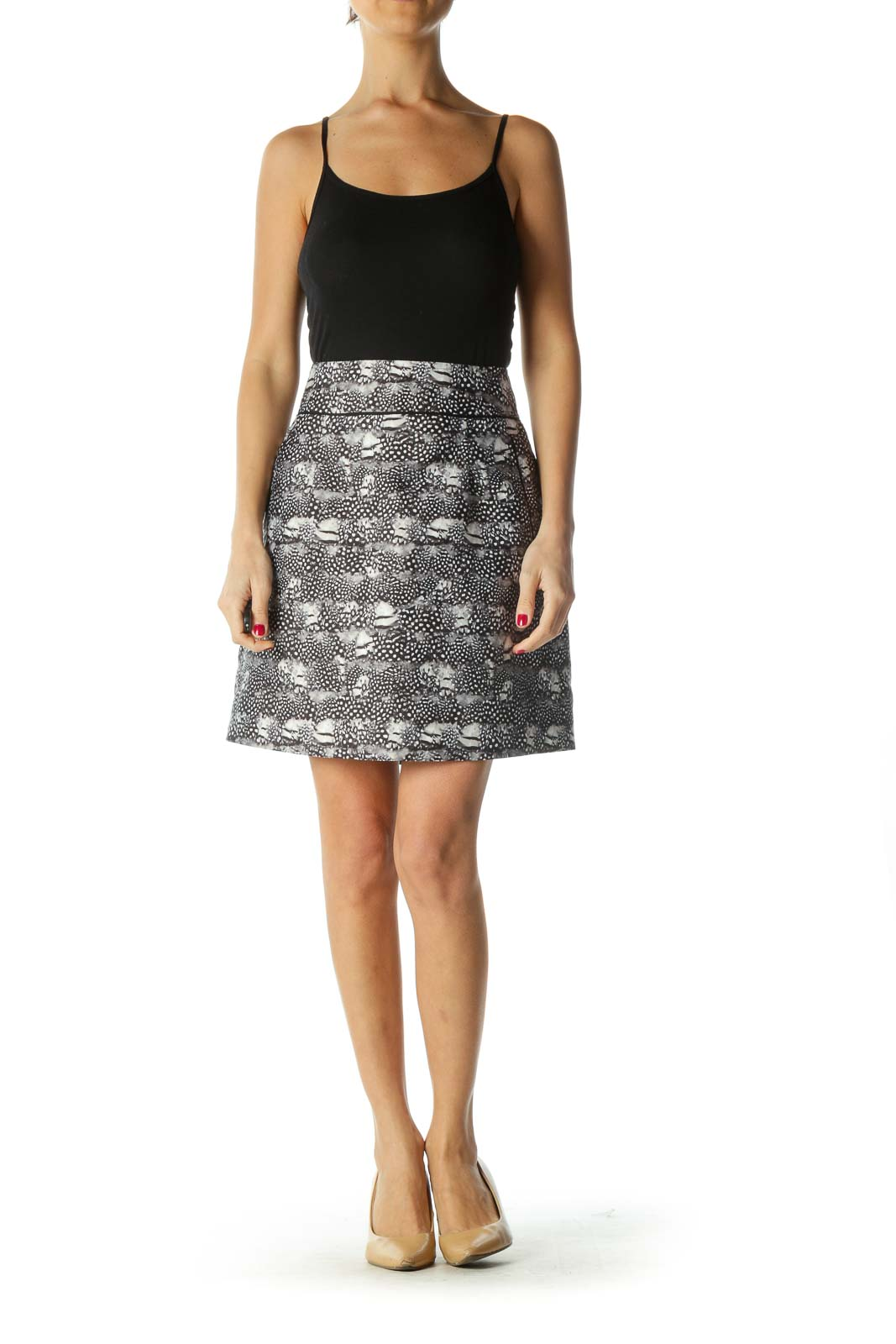 Black & White Feather Print Skirt