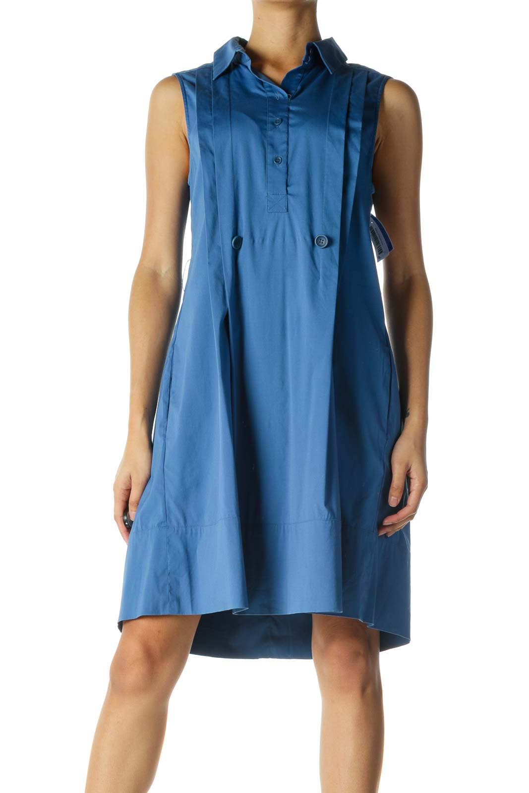 Blue Collared Work Dress